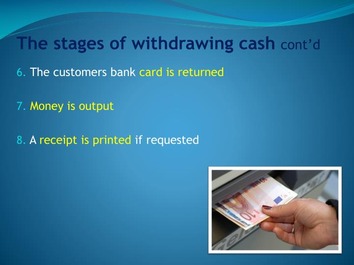 The stages of withdrawing cash