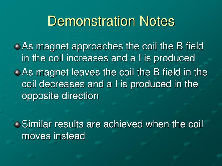 Demonstration notes