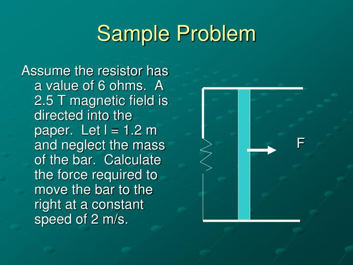 Assume the resistor has a value of 6 ohms.  A 2.5 T magnetic field is directed into the paper.  Let l = 1.2 m and neglect the mass of the bar.  Calculate the force required to move the bar to the right at a constant speed of 2 m/s.