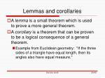 lemmas and corollaries