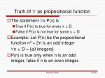 truth of as propositional function