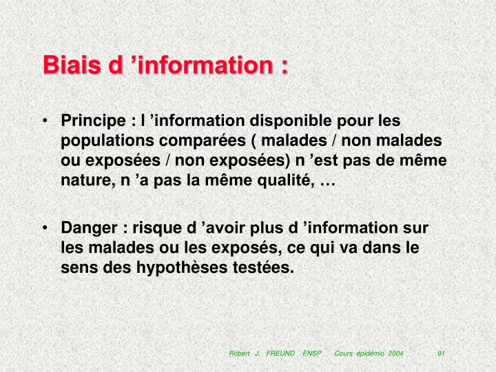 Biais d'information :