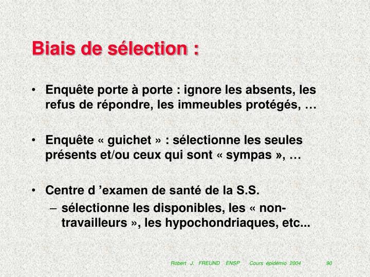 Biais de sélection :