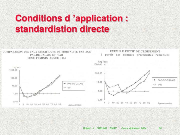 Conditions d'application : standardistion directe