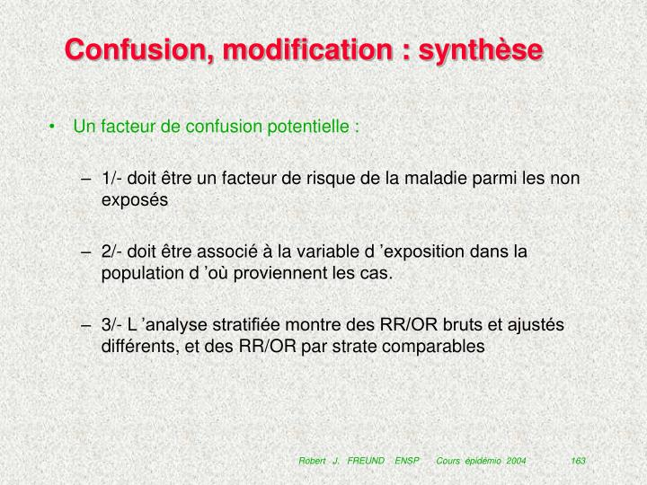 Confusion, modification : synthèse