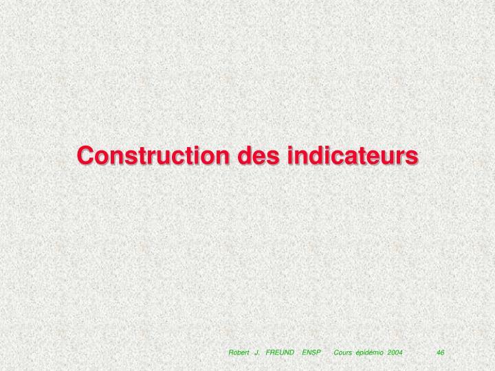 Construction des indicateurs
