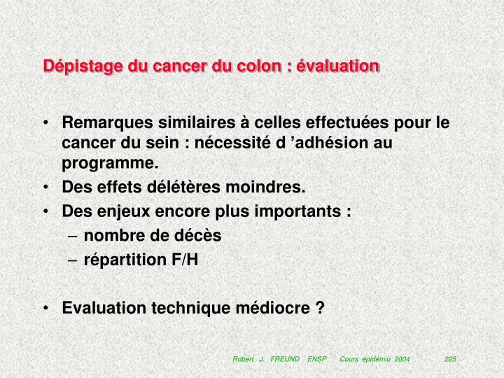 Dépistage du cancer du colon : évaluation