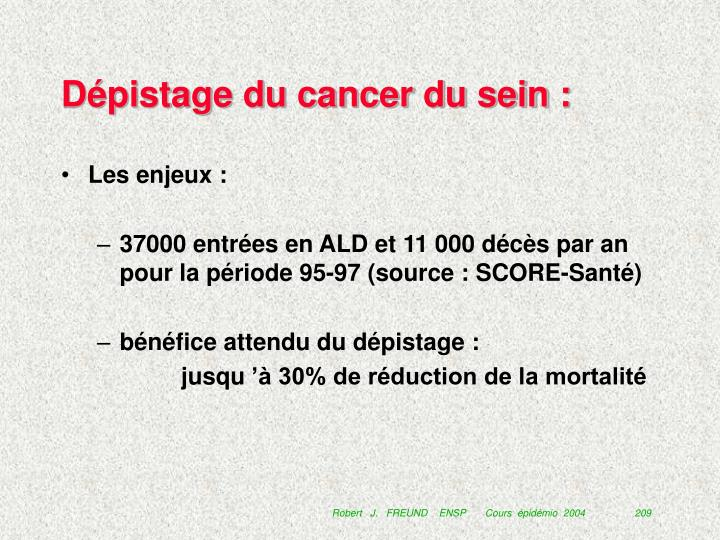 Dépistage du cancer du sein :