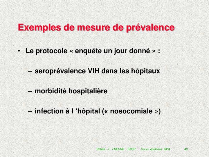 Exemples de mesure de prévalence