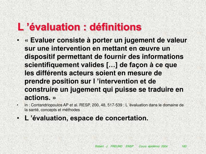 L'évaluation : définitions