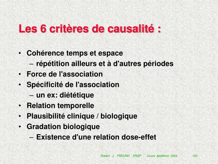 Les 6 critères de causalité :
