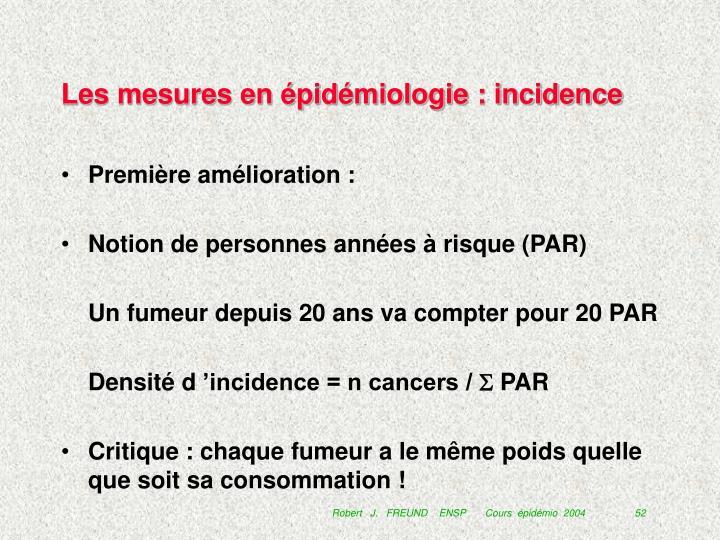 Les mesures en épidémiologie : incidence