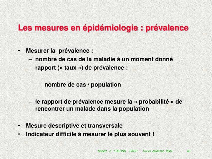 Les mesures en épidémiologie : prévalence