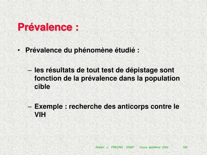 Prévalence :