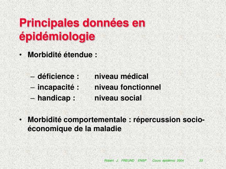 Principales données en épidémiologie