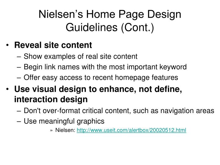 Nielsen's Home Page Design Guidelines (Cont.)