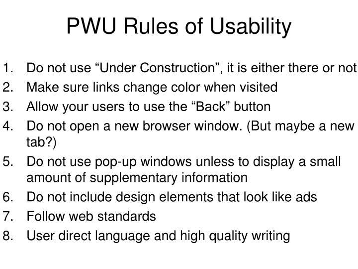 PWU Rules of Usability