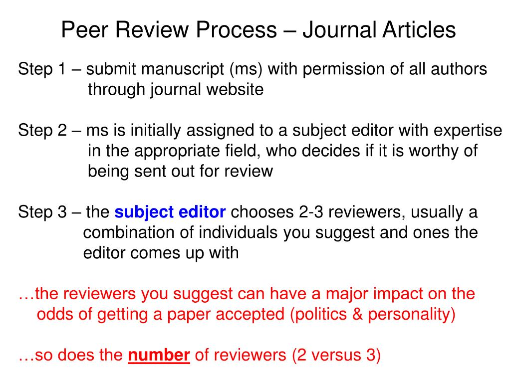 PPT - Peer Review Process – Journal Articles PowerPoint