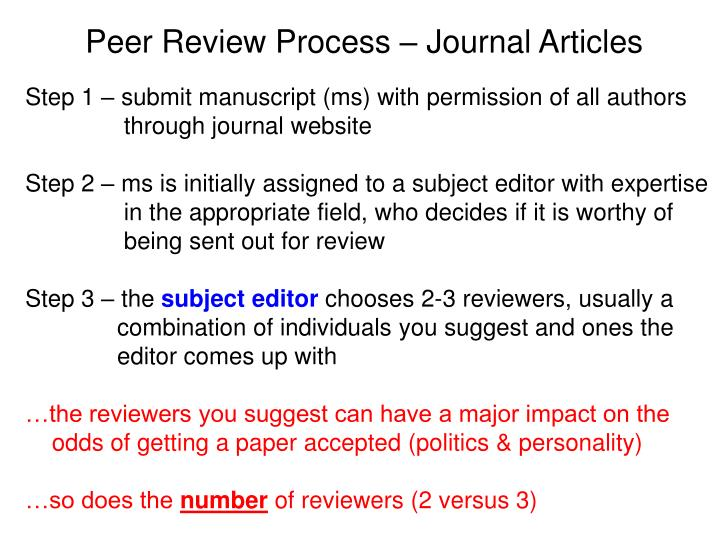 who reviews articles for peer reviewed journals