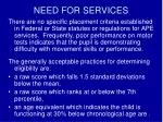 need for services
