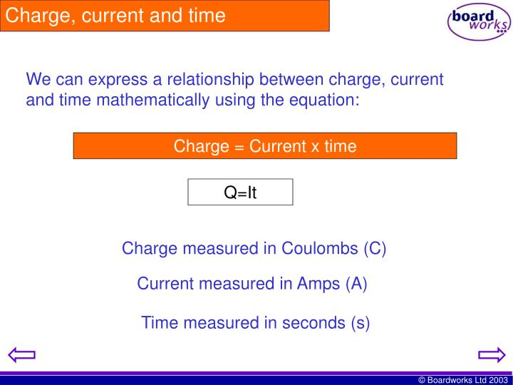 Charge, current and time