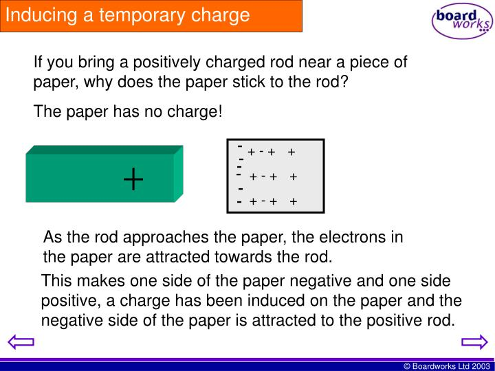 Inducing a temporary charge