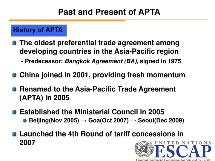 Ppt Recent Progress And Future Of The Asia Pacific Trade Agreement