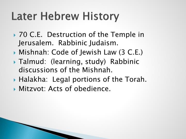 Later Hebrew History