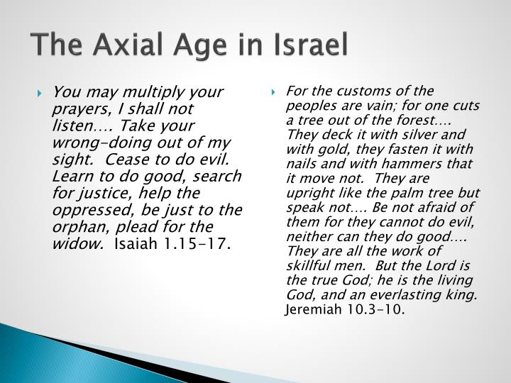 The Axial Age in Israel