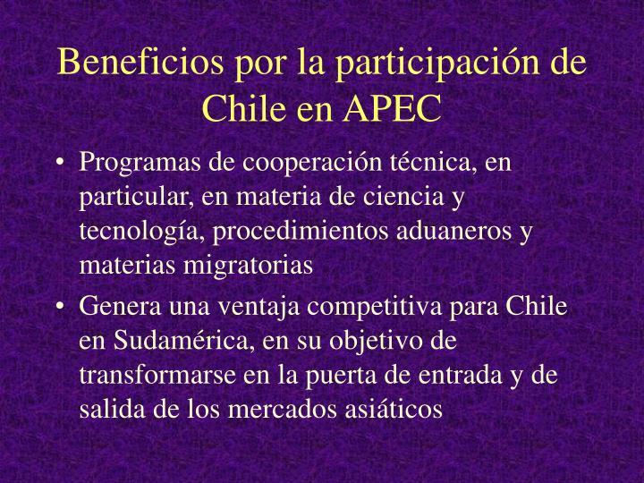 Beneficios por la participación de Chile en APEC