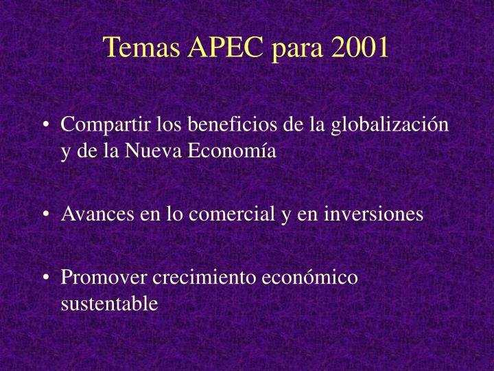 Temas APEC para 2001