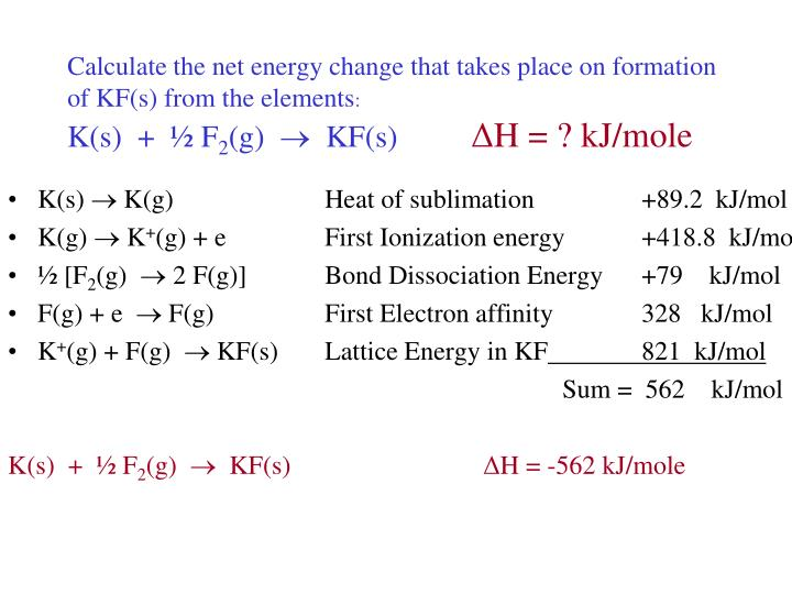 Calculate the net energy change that takes place on formation of KF(s) from the elements