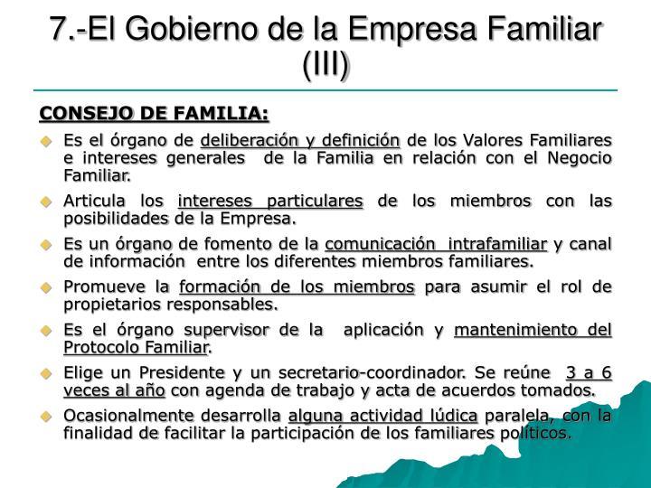 7.-El Gobierno de la Empresa Familiar (III)