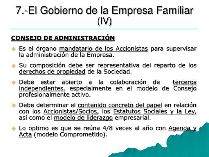 7.-El Gobierno de la Empresa Familiar