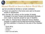 mental health in america before world war i