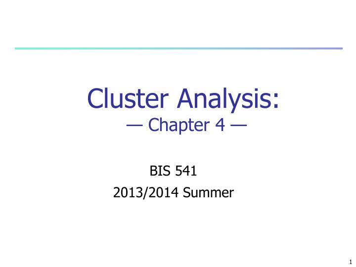 cluster analysis chapter 4 n.