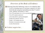 overview of the body of evidence