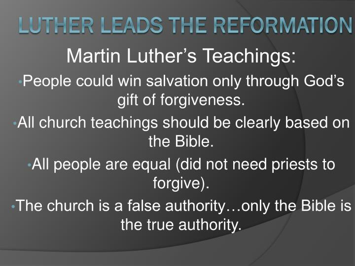Martin Luther's Teachings: