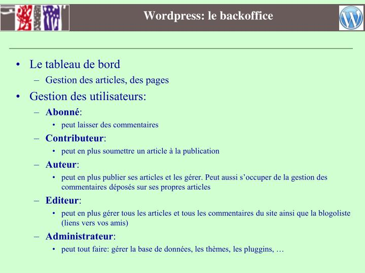 Wordpress: le backoffice