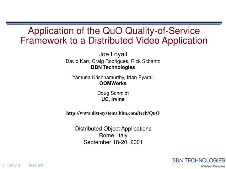 distributed object applications rome italy september 18 20 2001 n.