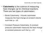 calorimetry and heat capacity