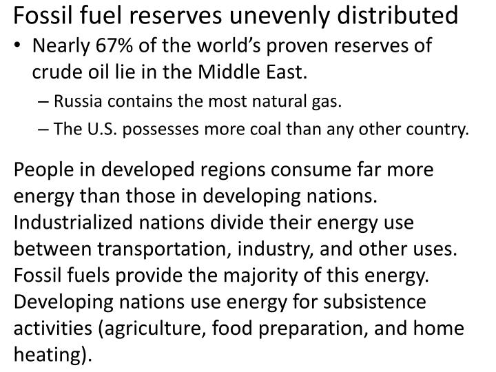 Fossil fuel reserves