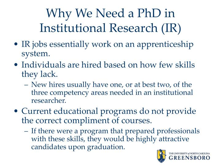 Why we need a phd in institutional research ir1