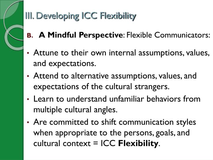 III. Developing ICC Flexibility