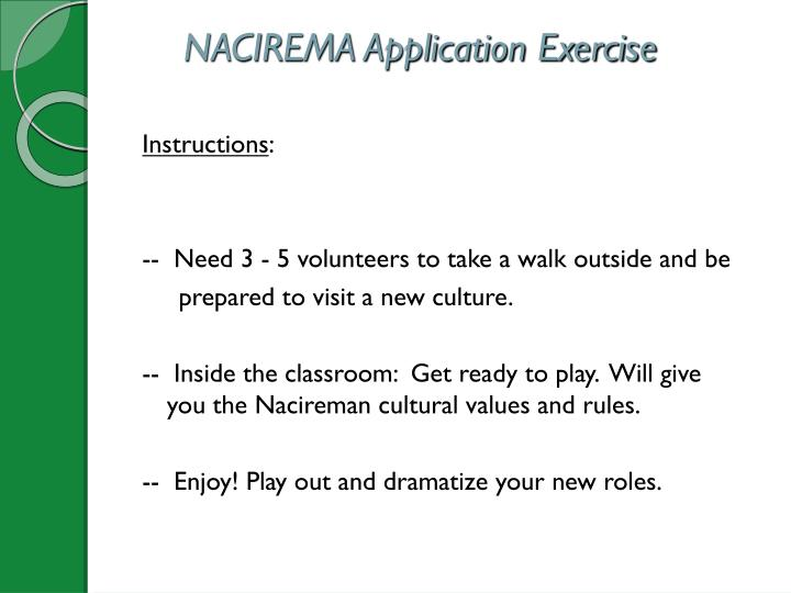 NACIREMA Application Exercise