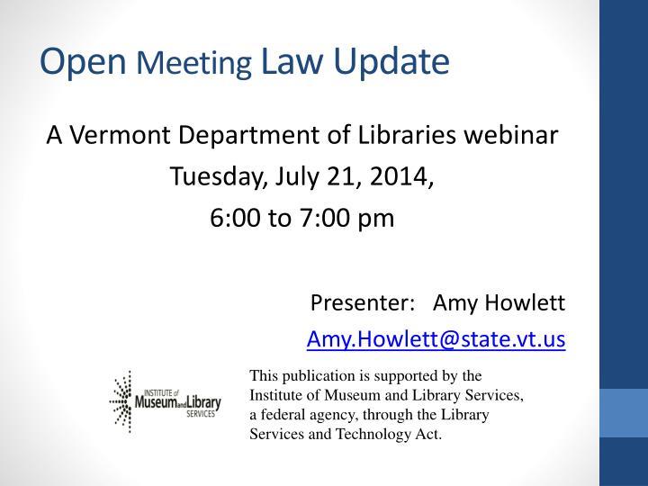 Open meeting law update