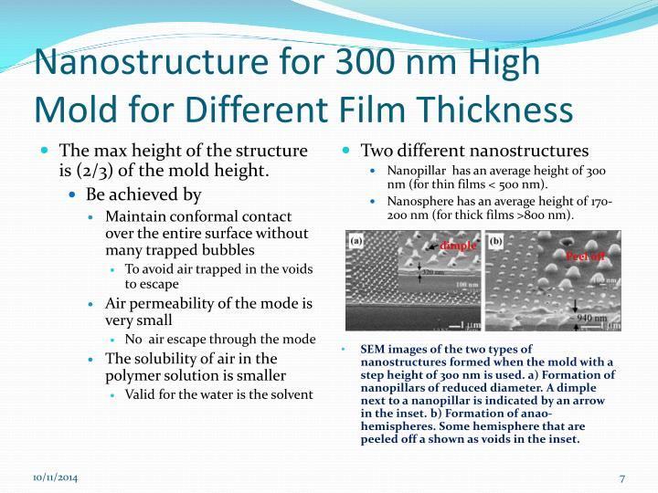 Nanostructure for 300 nm High Mold for Different Film Thickness