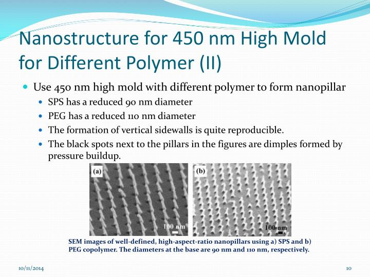Nanostructure for 450 nm High Mold for Different Polymer (II)