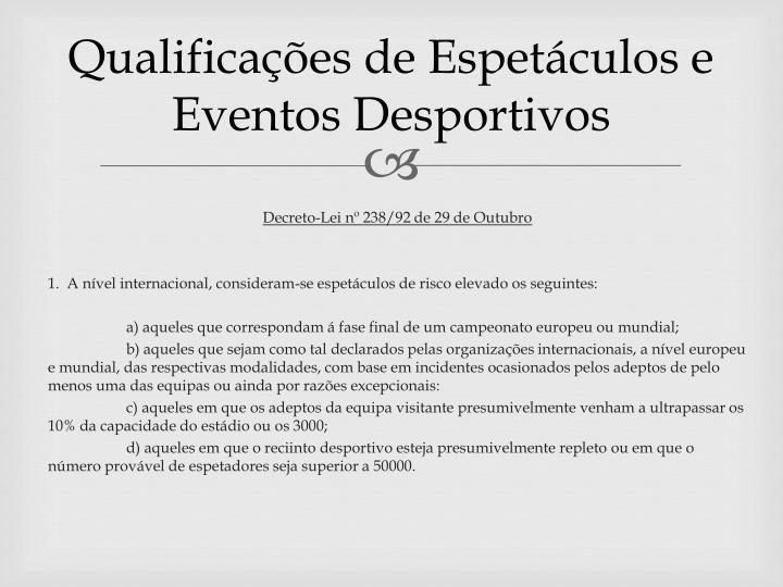 Qualifica es de espet culos e eventos desportivos