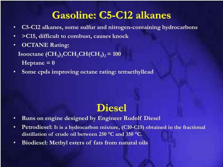 Gasoline: C5-C12 alkanes